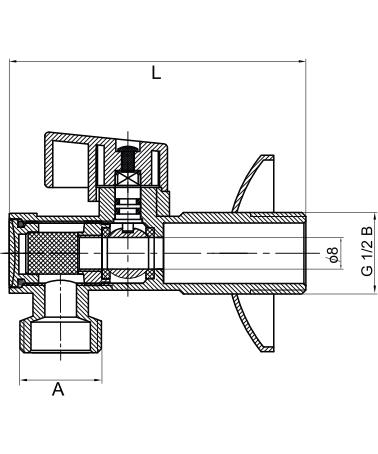 """Zawór kątowy kulowy1/2x3/8""""FILTRart.A800"""