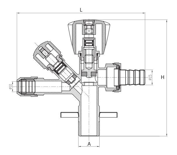 Zawór trójdrogowy 1/2x3/4x3/8 D. ART.268