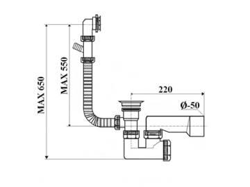 Syfon wannowy nadstropowy DN 50 sitko metalowe