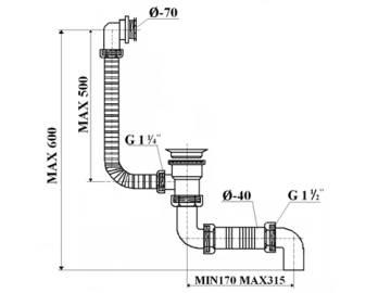 Syfon wannowy (przel-spust) sitko metal