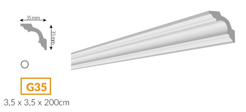 Listwa ekstrudowana - G35 - biała - 2szt (folia)