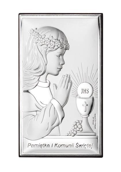 Obrazek Srebrny I Komunia Św. Dziewczynka 9x15