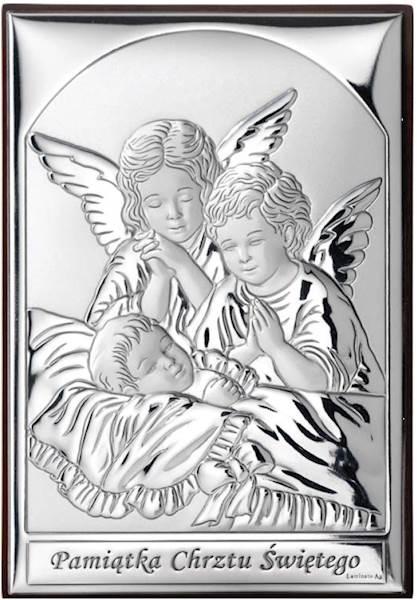 Obrazek Srebrny Anioły nad Dzieckiem 9x13