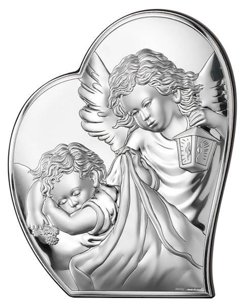 Obrazek Srebrny Anioł nad Dzieckiem Serce 9x10,7