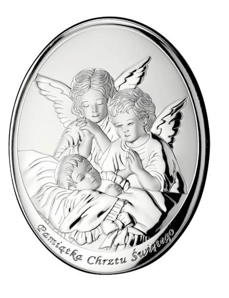Obrazek Srebrny Aniołki nad Dzieckiem Owal 9x13