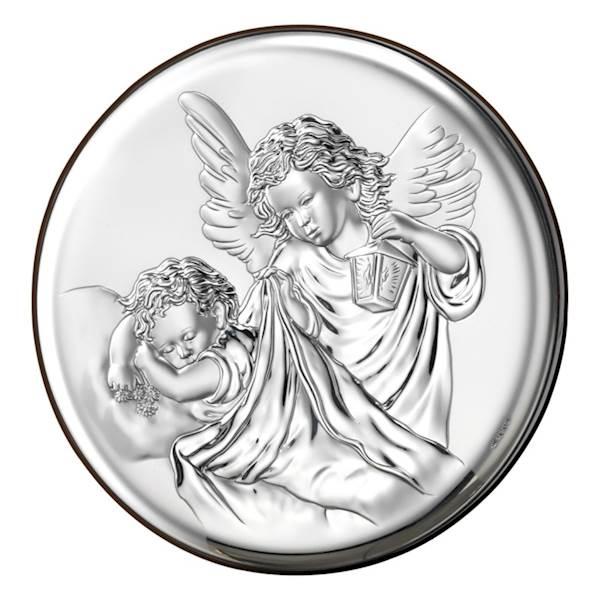 Obrazek Srebrny Anioł na Dzieckiem Okrągły 16x16