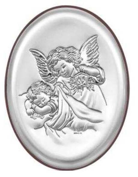 Obrazek Srebrny Aniołek nad Dzieckiem Owal 13x18
