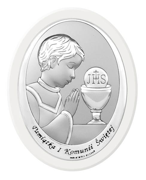 Obrazek Srebrny Komunia Chłopiec Biał.Drewno 15x20