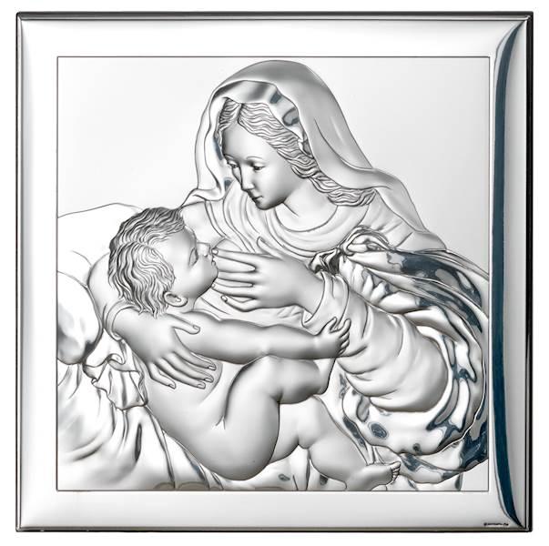Obrazek Srebrny Matka Boża Karmiąca 18x18