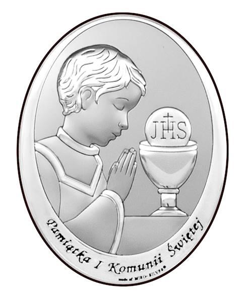 Obrazek Srebrny I Komunia Św. Chłopiec 13x18