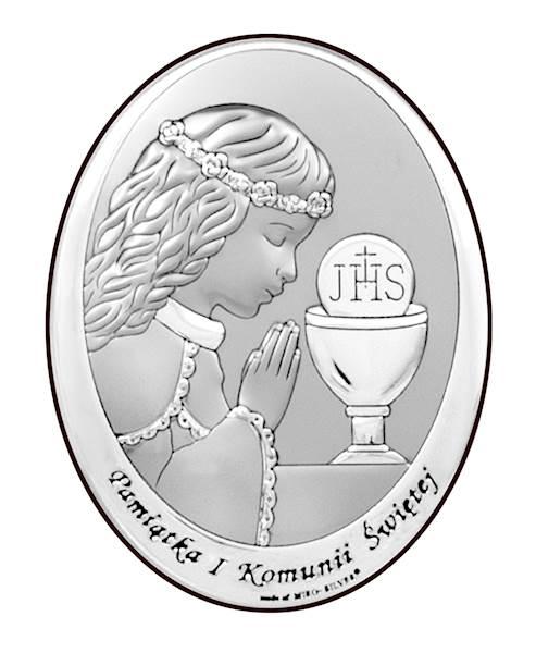 Obrazek Srebrny I Komunia Św. Dziewczynka 13x18