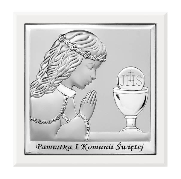Obrazek Srebrny I Komunia Św. Dziewczynka 14x14