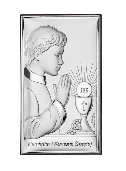 Obrazek Srebrny I Komunia Św. Chłopiec 12x20