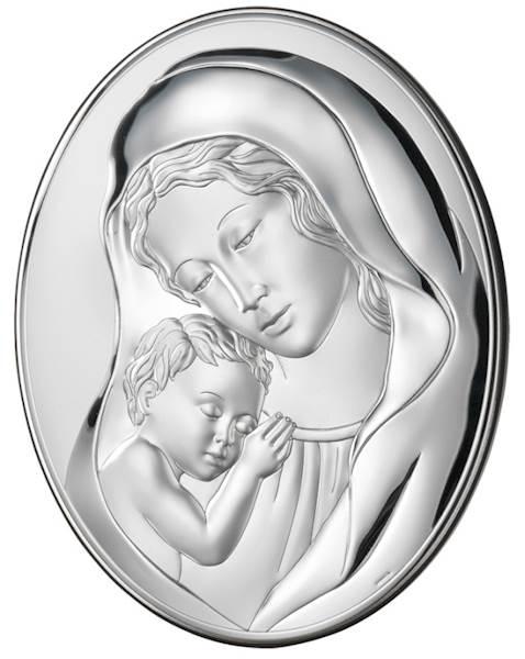 Obrazek Srebrny Matka Boża z Dzieciątkiem 13x18