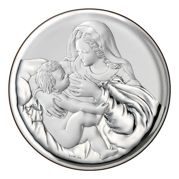Obrazek Srebrny Matka Boża Karmiąca Okrągła 16x16