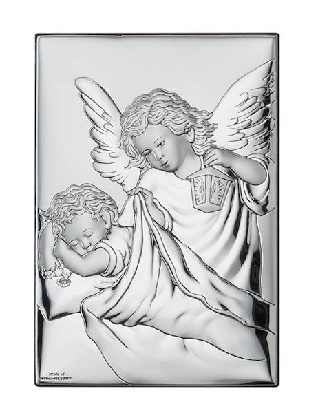 Obrazek Srebrny Anioł nad Dzieckiem 9x13