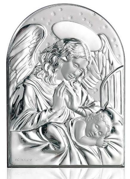 Obrazek Srebrny Anioł nad Śpiącym Dzieckiem 13x18