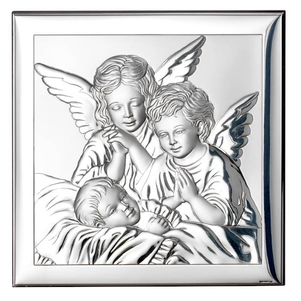 Obrazek Srebrny Aniołki nad Dzieckiem 12x12