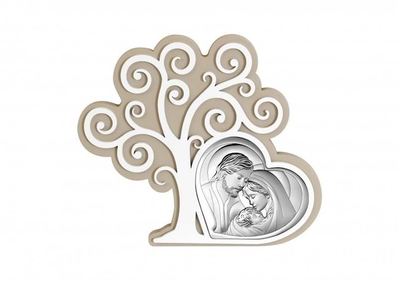Obrazek Srebrny Św.Rodzina Drzewko Beżowe 17,3x15