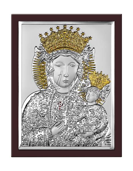 Obrazek Srebrny Matka Boża Częstochowska 15x20