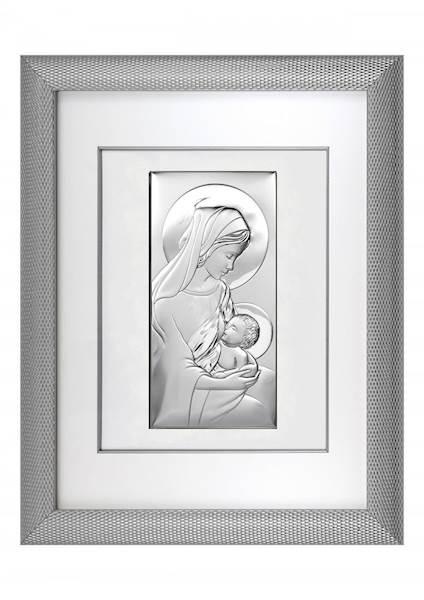 Obraz Srebrny w Ramie Matka Boża Karmiąca 51,5x65