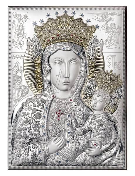 Obrazek Srebrny Matka Boża Częstoch.Złocona 18x24
