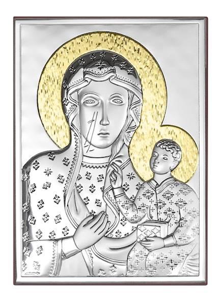 Obrazek Srebrny Matka Boża Częstoch. Złocona 9x13