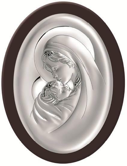 Obrazek Srebrny Matka Boża z Dziec.Brąz Drew.12x15