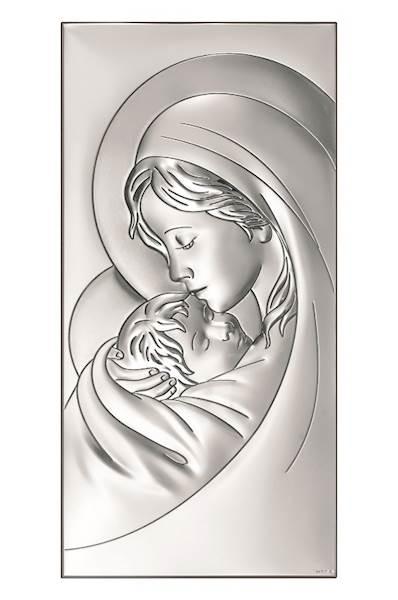 Obrazek Srebrny Matka Boża z Dzieciątkiem 18x36