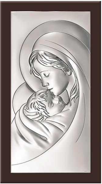 Obrazek Srebrny Matka Boża z Dzieciątkiem 8x13,5
