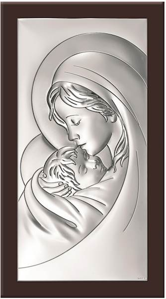 Obrazek Srebrny Matka Boża z Dzieciątkiem 10x19