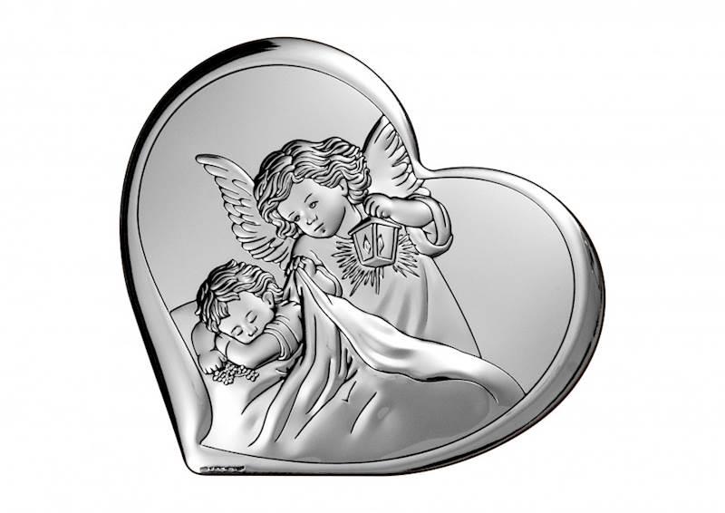 Obrazek Srebrny Aniołek z Latarenką Serce 15,5x14