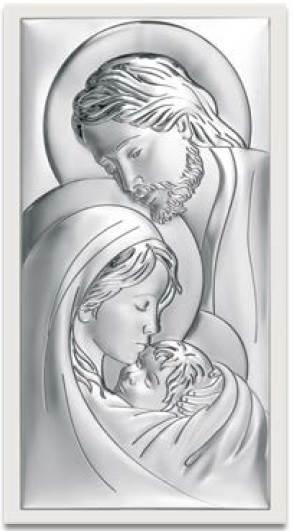 Obrazek Srebrny Św. Rodzina Białe Drewno 20x38