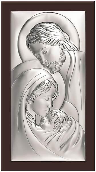 Obrazek Srebrny Św. Rodzina Brązowe Drewno 20x38