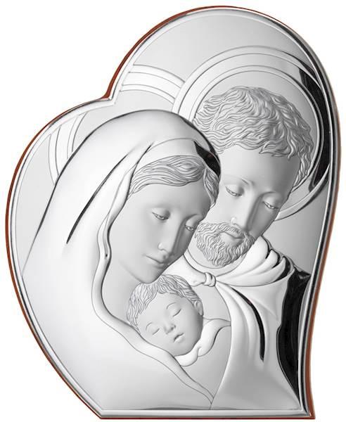 Obrazek Srebrny Św. Rodzina Serce 16,2x19,5