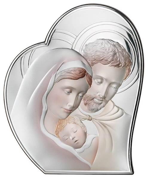 Obrazek Srebrny Św. Rodzina Serce Kolor 16,2x19,5