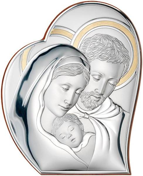 Obrazek Srebrny Św. Rodzina Serce Złocone 27x32,6