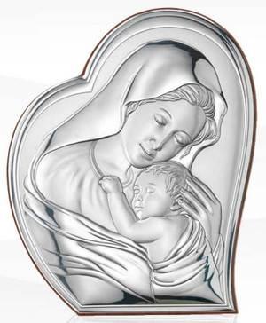Obrazek Srebrny Matka Boża z Dzieciątkiem 16x19,5