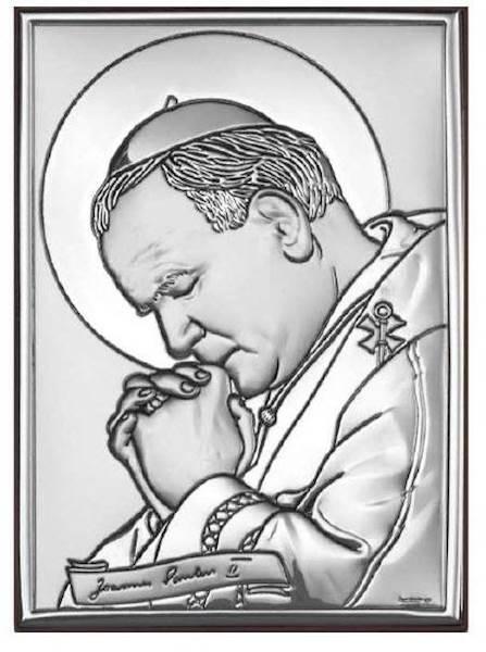 Obrazek Srebrny Św. Jan Paweł II Zamodlony 13x18