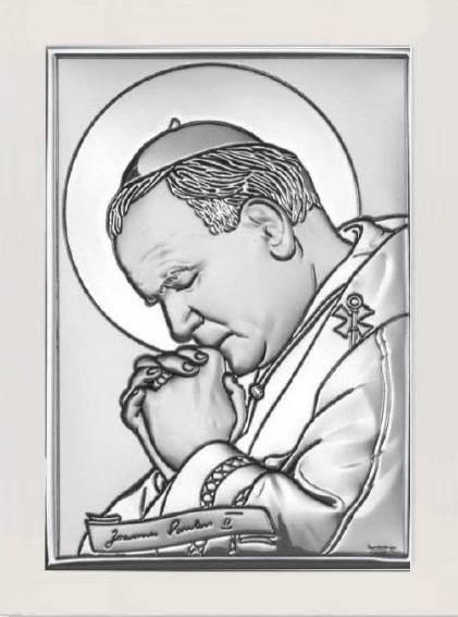 Obrazek Srebrny Św.Jan Paweł II Białe Drewno 20x26