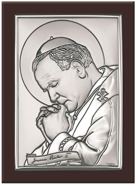 Obrazek Srebrny Św. Jan Paweł II Brąz Drewno 11x15