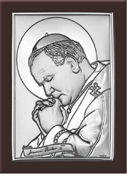 Obrazek Srebrny Św.Jan Paweł II Brąz. Drewno 15x20