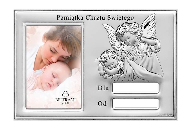 Ramka Srebrna Chrzest Św. z Dedykacją 6x9 / 10x15