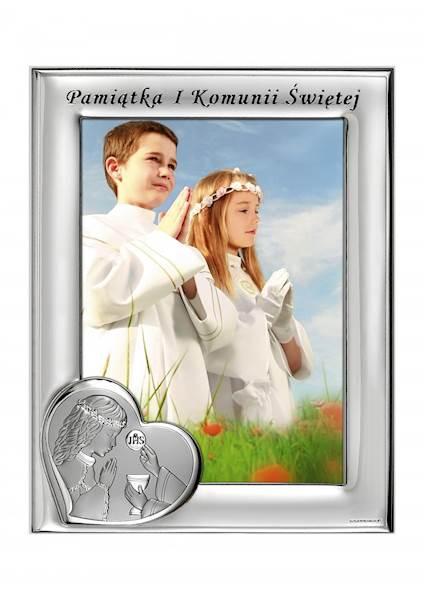 Ramka Srebrna I Komunia Św. Dziewczynka 13x18 Pion