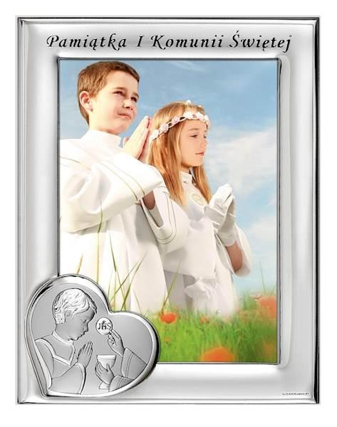 Ramka Srebrna I Komunia Św. Chłopiec 13x18 Pion