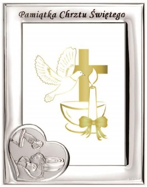 Ramka Srebrna Chrzest Św. Chrzcielnica 9x13 Pion