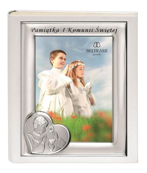 Album I Komunia Św. Srebrna Ramka Chłopiec 20x25