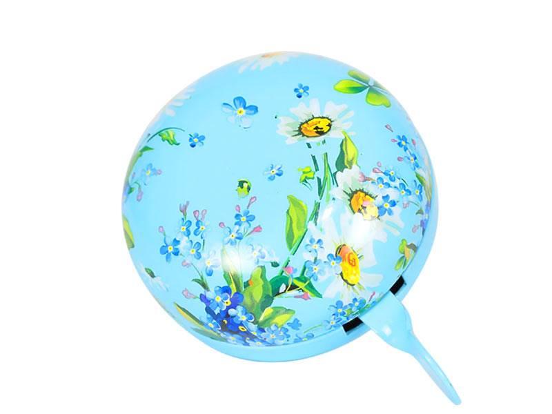 Dzwonek 8 cm - Niebieski w kwiaty