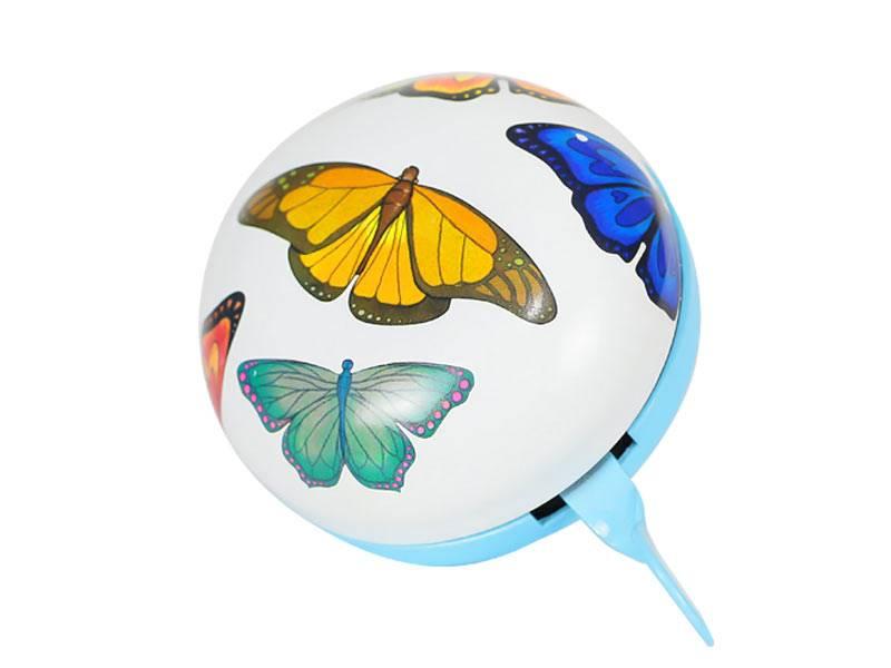 Dzwonek 8 cm - Biały w motyle