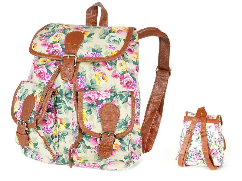 Plecak Vintage - beżowe róże